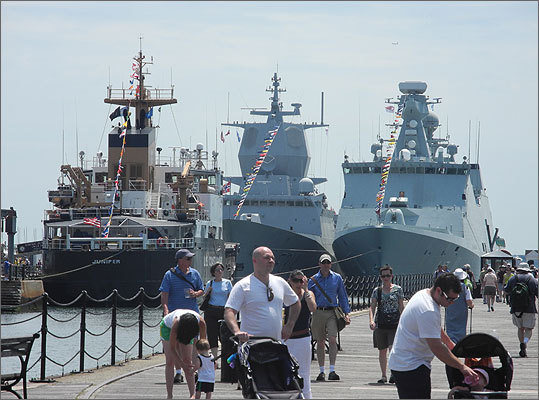Ships berthed at Pier 4 at Charlestown Navy Yard. From left: USCGC Juniper, HNOMS Thor Heyerdahl, and HDMS Esbern Snare.