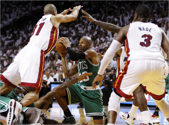 Less than a month after the Celtics were eliminated from the 2012 NBA playoffs by the Miami Heat in the Eastern Conference finals, guard Ray Allen has decided to leave the Celtics and join the Heat. Allen became a free agent after the season, but chose to leave for the Heat, who won the NBA championship, despite a higher offer from the Celtics. Click through the gallery to review his career highlights.