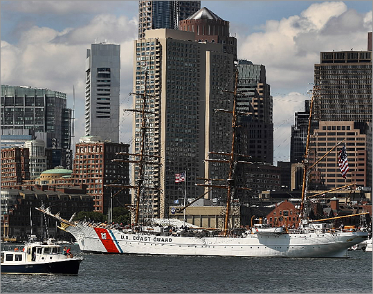 The USCGC Eagle left Boston Boston Harbor after 4th of July celebrations on July 5.