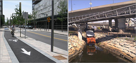 Cycle tracks like this one (left) in Cambridge will be key to attracting more riders, experts say; the new $10 million North Bank Bridge (right) under the Zakim connects parks in Cambridge and Charlestown for bikers and pedestrians.