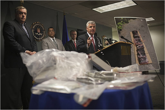 Suffolk District Attorney Daniel F. Conley announced arrests Monday connected to an alleged multimillion dollar drug-trafficking ring operating in Boston.