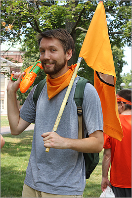 Organizers of the event preferred to be anonymous. The leader of the Orange Line, who calls himself Bandito B, said that every year the Water Gun Fight attracts many participants.