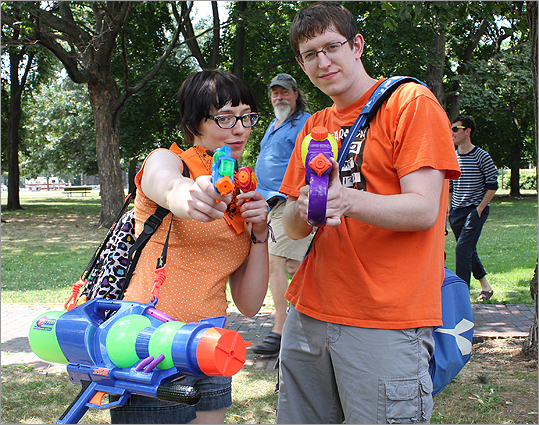 Sarah James, of Jamaica Plain, and Mark Fineger, of Somerville, participated in the event. 'This event is every child's fantasy. It is amazing that now when we are all grown up we can be a part of this,' James said.