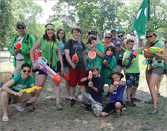 Representatives of the Green Line were fully prepared for the Water Gun Fight.