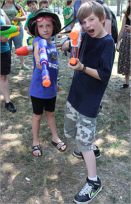 Estella Adams, 8, and Logan, 11, both of Methuen, participated in the pillow fight that was organized by Banditos Misteriosos last year. This year they decided to be a part of the Water Gun Fight.