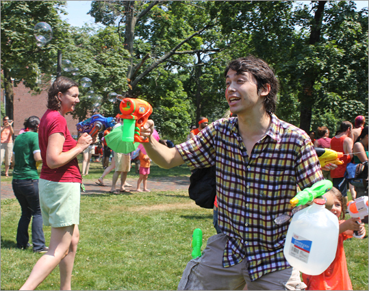 A Red Line representative used a bubble gun during the water fight.