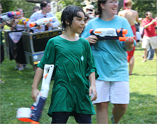 Children of all ages came to the Water Gun Fight.