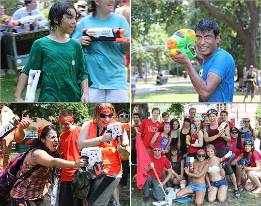 Hundreds of people gathered on July 14 in Cambridge Common, located near Harvard Square, for the Banditos Misteriosos Water Gun Battle. This year's theme, 'See Something, Spray Something,' is based on the MBTA. All participants were dressed up in T-related costumes. The Banditos Misteriosos holds frequent events across the area, like the 2012 Pillow Fight in the North End Park. Organizers said they try to hold events that are open to everyone in the public and organized for the fun of participants involved.