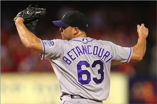 Rafael Betancourt Globe national baseball writer Nick Cafardo reported Sunday that the Red Sox have interest in the Rockies reliever. Betancourt has a 3.09 ERA and 16 saves in 36 appearances for the Rockies this year. He could serve as a setup man or closer in Boston.