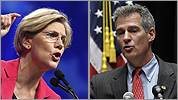 Elizabeth Warren and Scott Brown stump for votes