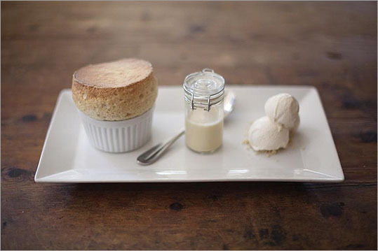 Among the desserts is a vanilla souffle, admirably lofty but too sugary. Olives also features sweets from Curly Cakes, the cupcake bakery that is a project of English's daughter, Isabelle.