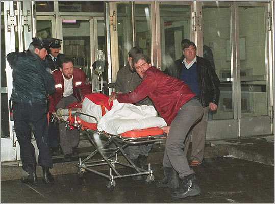 Nine killed in Montreal -- Dec. 6, 1989: Marc Lepine, 25, burst into Ecole Polytechnique college, shooting at women he encountered, killing nine and then himself. Pictured: An injured person was wheeled away from the shooting.