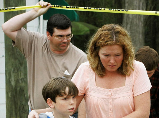 10 killed in Samson, Ala. -- March 10, 2009: Michael McLendon, 28, killed 10 people -- including his mother, four other relatives, and the wife and child of a local sheriff's deputy -- across two rural Alabama counties. He then killed himself. Pictured: Family members of shooting victim James Alfred White, 55, son-in-law Earl Johnson, back left, his wife Kay Johnson, right, and their son left Whites' house in Samson.