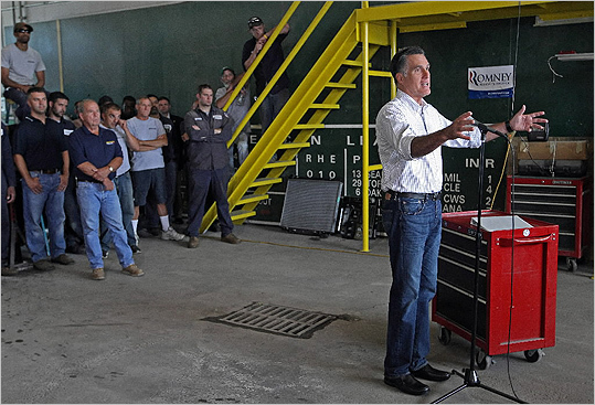 At Middlesex Truck & Coach, Mitt Romney suggested that businesses do not owe their success to the government.