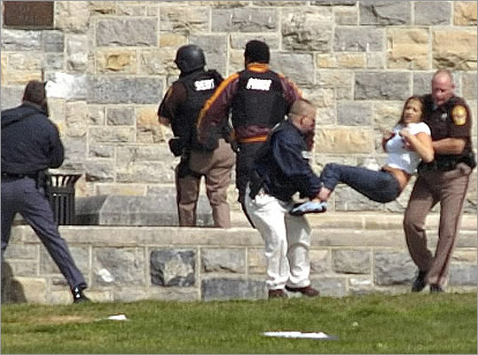 32 killed at Virginia Tech, Blacksburg, Va. -- April 16, 2007: Seung-Hui Cho, 23, killed 32 and himself on the Virginia Tech campus. Pictured: An injured occupant was carried out of Norris Hall at Virginia Tech after Cho opened fire on the campus.