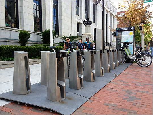 There were barely any bikes left after workers installed a station at Central Square in front of the Post Office and across the street from City Hall.
