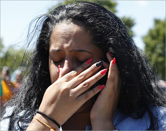 A woman became emotional outside the Sikh Temple of Wisconsin.