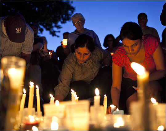 People gathered at a candlelight vigil for the victims on Aug. 5.