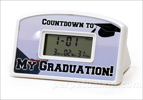 Graduation countdown clock Price: $9.99 We all start the school year excited, but eventually we longingly look toward summer break. Help your friends power through senioritis with this countdown until graduation.