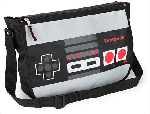 Nintendo reversible messenger bag Price: $36.99 Don't let your friends walk into school with a boring bag. This is most certain to catch attention.