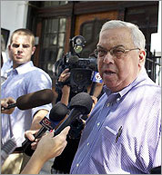 Mayor Thomas M. Menino spoke to the media Thursday at the scene.