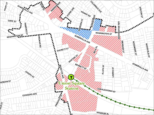 The federal Environmental Protection Agency has awarded Somerville $1 million in grants to clean up the contaminated Kiley Barrel site, paving the way for Union Square's redevelopment. In the past, the Kiley Barrel Company cleaned, refurbished and distributed drums that reportedly stored both chemical products and bakery products. Pictured: Areas shaded red indicate parcels for clearance and areas in blue are parcels planned for rehabilitation.