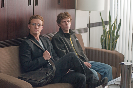 The Social Network, 2010 Mark Zuckerburg, the founder of Facebook and a Harvard student, is played by Jesse Eisenberg (right, with Justin Timberlake) in this popular film. Because they were not allowed to film on Harvard's campus, filmmakers used Wheelock College, Johns Hopkins, and two prep schools, Phillips Academy, and Milton Academy.
