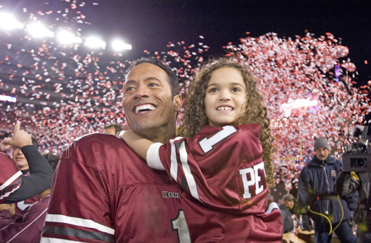 The Game Plan, 2007 Dwayne 'The Rock' Johnson plays a Boston NFL quarterback who finds out he has an 8-year-old daughter from a previous relationship. This movie was filmed at Bentley College, College of The Holy Cross, and at Emerson College's Cutler Majestic Theater. The Gypsy Bar, situated close to the Emerson campus, also makes an appearance.