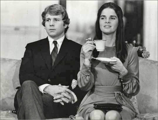 Love Story, 1970 One of the most famous romantic films of all time, the movie depicts a romance between Harvard University and Radcliffe College students, played by Ryan O'Neil and Ali MacGraw (pictured), who come from very different backgrounds and believe 'love means never having to say you're sorry.' Filming this movie caused significant physical damage to Harvard University's campus. Since then, most requests for on-location filming have been denied .
