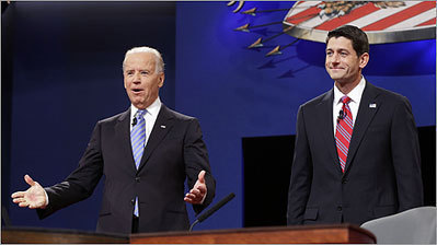 Scenes from the vice presidential debate