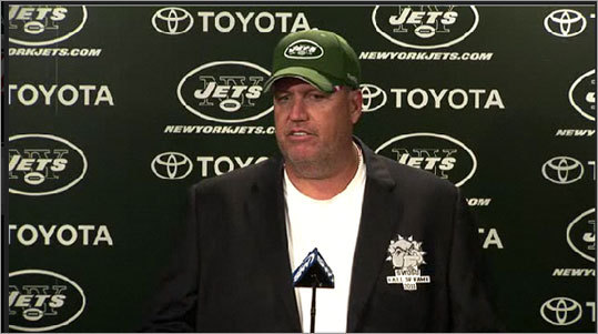 "Ryan kept the mood light prior to the first meeting of the teams in the 2011 regular season by opening a press conference with his 'Hall of Fame' stunt. Ryan wore a makeshift 'Hall of Fame' jacket from his alma mater, Southwestern Oklahoma State and said he was being inducted to the school's hall, thereby making the Patriots-Jets game 'two Hall of Famers [coaches] butting heads.' ""I mean you're talking about two Hall of Famers,"" Ryan said. ""Because we know [Bill Belichick is] going to have a bust in Canton and all of that -- that minor Hall of Fame ... It boils down to two Hall of Famers butting heads."""