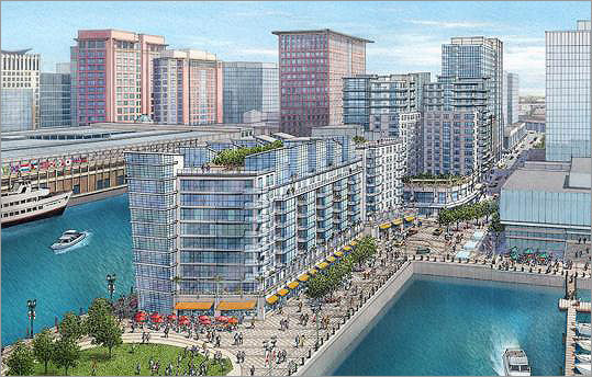 Construction will be begin on a complex around Anthony's Pier 4 . The project includes three buildings, restaurants, and a hotel. A public park will be built where Anthony's now stands.