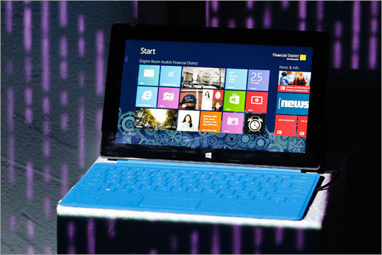 Microsoft has released Surface, a tablet computer to compete with Apple's iPad. The basic version of the device is 9.3 millimeter (or a little more than a third of an inch) thick tablet that comes with a kickstand to hold it upright for $500. The 32 GB device weighs under 1.5 pounds. You can bundle the device with a Touch Cover that doubles as the device's keyboard for $100 more.