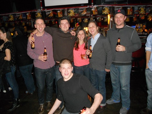 From left to right: Richard Cleg, Tim Sayers, Katie McCab, Mike Lemiere and Dillon celebrating the 'End of the World'