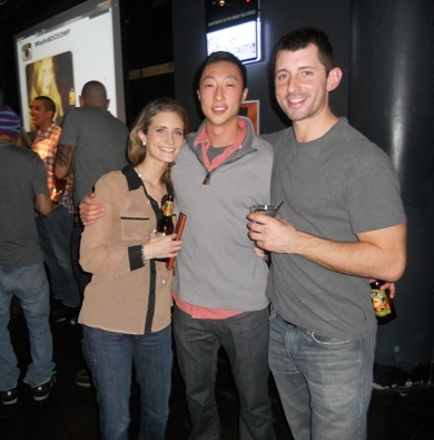 Brittany Hammar, Syng Yu and Kyle Couillard sipping on Shock Top.