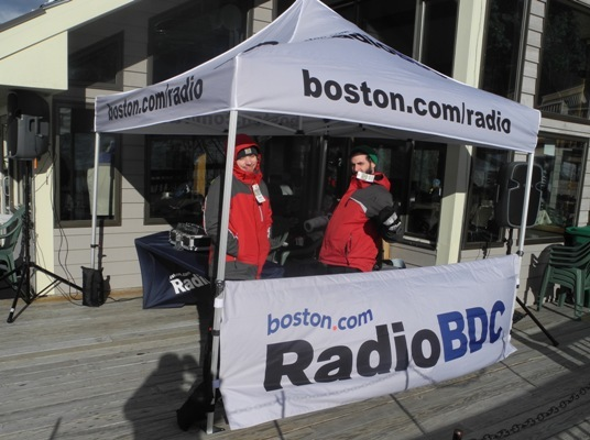 RadioBDC tent set up right in front of the mountain. Playing the sound track to skiers and riders.