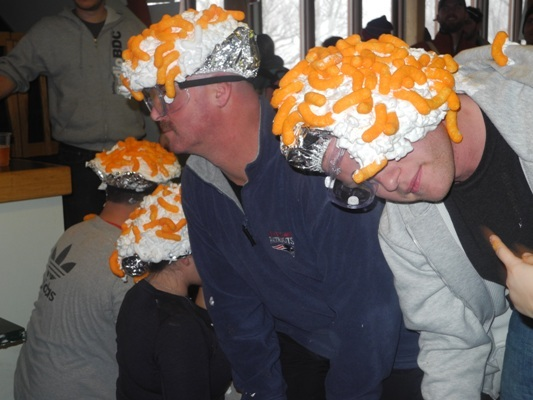 Cheeto Head seems to get the party started. Who doesn't like their head covered in shaving cream and Cheetos?!