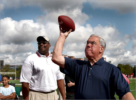 For all his good deeds, Boston Mayor Thomas M. Menino is one of the region's main offenders when it comes to breaking down the Boston sports scene. His mispronunciations have been as frequent as they've been endearing. The day Menino officially announces he won't be seeking re-election is a good time to take a look at some of the more memorable sports flubs by the mayor and others. Menino's latest gaffe came when talking about the Patriots and the traditional bet with the mayor of Baltimore. Menino referred to Vince Wilfork as 'Vince Wilcock,' and Rob Gronkowski, who is known as 'Gronk', as 'Gonk'. For other mistakes and well known sports flubs, read on.