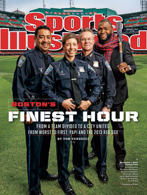 Boston is back on the cover of Sports Illustrated again with a tribute to the marathon tragedy and the 2013 World Series champion Red Sox. Here, David Ortiz poses with three Boston police officers captured in an iconic photo. Sometimes, however, being on the SI cover is not quite the honor it may appear to be. Many believe in the ' Sports Illustrated cover jinx, ' which holds that misfortune or upset awaits those that the magazine chooses to spotlight. Click through the gallery to review SI covers from 2007 to present that feature Boston teams and athletes.