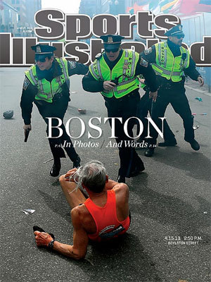 Boston Marathon This stunning image is the one Sports Illustrated would later refer to with the Ortiz cover.