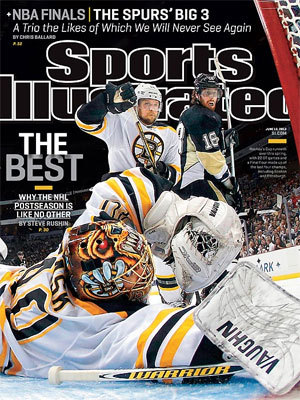 Tuukka Rask A splayed-out Bruins goalie made a save in the preview for the NHL playoffs. The Bruins would make it all the way to the Stanley Cup Finals.