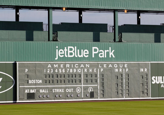 JetBlue Park features a Green Monster wall in left field, similar to Fenway Park.