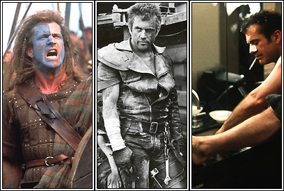 Mel Gibson in 'Braveheart,' 'The Road Warrior,' and 'What Women Want'