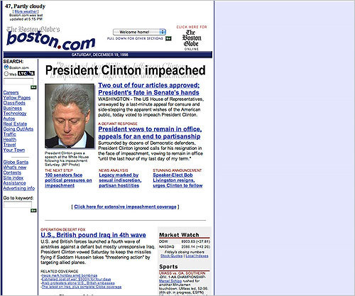 1998 In 1998, Boston.com developed the design it would use, with minor modifications, for the next five years. The new design featured more pictures, and a site map on the left side. In this photo, a head shot of a remorseful Bill Clinton was featured on the homepage.