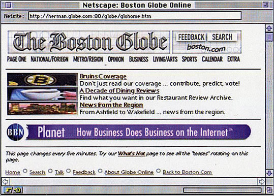The top of a Boston.com page from the mid-90's.
