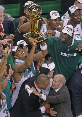 2008 Celtics The Celtics' offseason acquisitions paid off in 2008. With the additions of future Hall of Famers Ray Allen and Kevin Garnett, the Celtics took home their NBA championship since 1986, defeating the Lakers in six games. For Paul Pierce, the Finals MVP, it was his 10th season and fifth playoff appearance. Coach Doc Rivers, in his fourth year at the helm in Boston, ousted Phil Jackson, the 'Zen Master,' and Kobe Bryant. Bryant and Jackson won the next two titles.