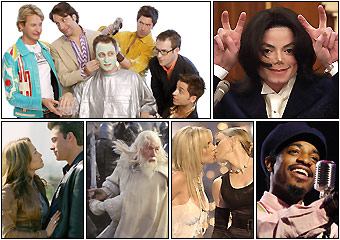 Among the highs and lows of pop culture in 2003, 'Queer Eye for the Staight Guy' debuts; police arrest the King of Pop; Jennifer Lopez and Ben Affleck bomb at the box office; Britney Spears and Madonna share more than music; 'The Return of the King' crushes the competition at the box office; and Outkast's Andre 3000 gets seriously funky.