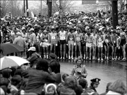Disco was just going out of style, Jimmy Carter was president and a pair of famous New Englanders took first in the Boston Marathon. The year was 1979, and 25 years later we recap that memorable race. Runners in the men's division wait for the starting gun. The '79 race was the largest ever at the time, officially numbering 7,897 runners.