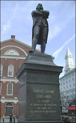 A statue of Samuel Adams, famous patriot and revolutionary, greets visitors at one end of Faneuil Hall. Born in nearby Quincy, Adams played many roles in the rebellion against British colonial rule, and later served both in the first Continental Congress and as the governor of Massachusetts.