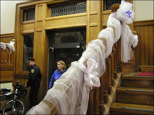 Tulle on the banister